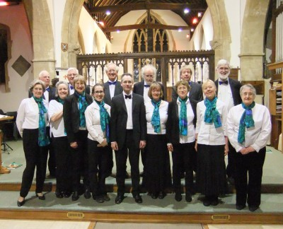 The Crown Singers with conductor Paul Hedley at their concert in Harwell on 25 April 2015