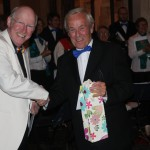 Derek Witts thanks Malcolm Pearce after his farewell concert in October 2010.