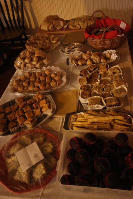 A fine spread of home-made seasonal food at the December 2012 concert.