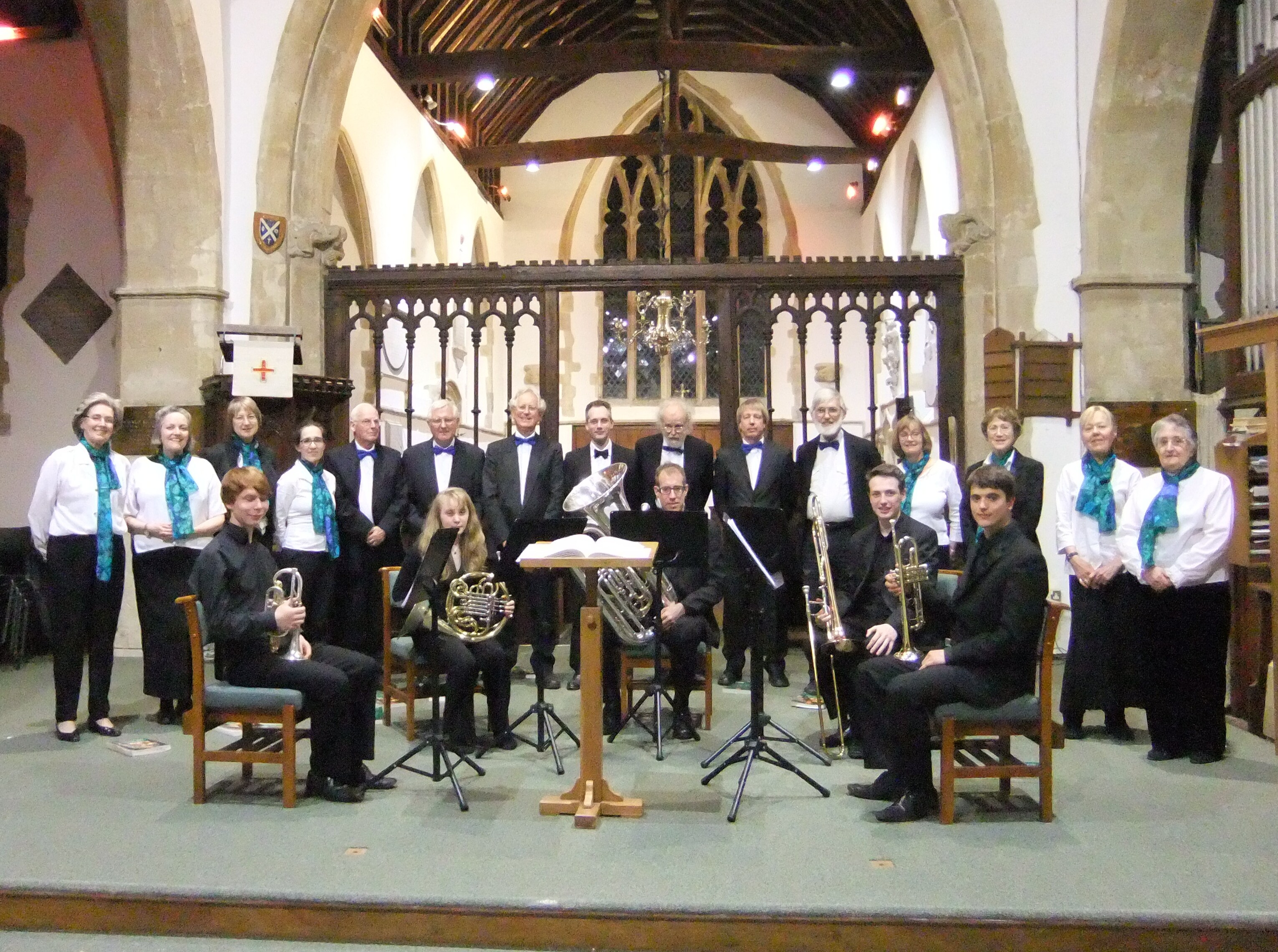 The Crown Singers with The Wantage Brass Ensemble at their joint concert in Harwell on 25 April 2015